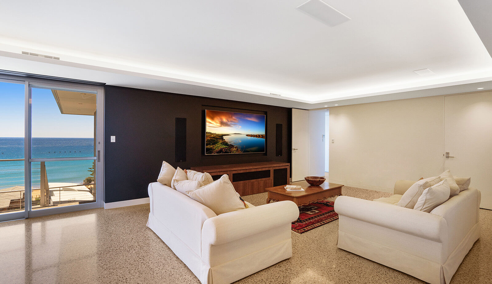 Lounge room with in-wall TV